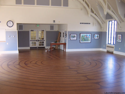 34' diameter Breamore™ 11 circuit labyrinth - cork tile kit - fellowship hall at Metropolitan Memorial United Methodist Church - Washington DC