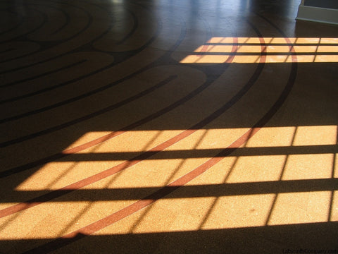 34' diameter Breamore™ 11 circuit labyrinth - cork tile kit - fellowship hall at Metropolitan Memorial United Methodist Church - Washington DC - detail in shadows and sunlight