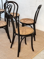 Set of Six Bentwood Rattan Dining Chairs