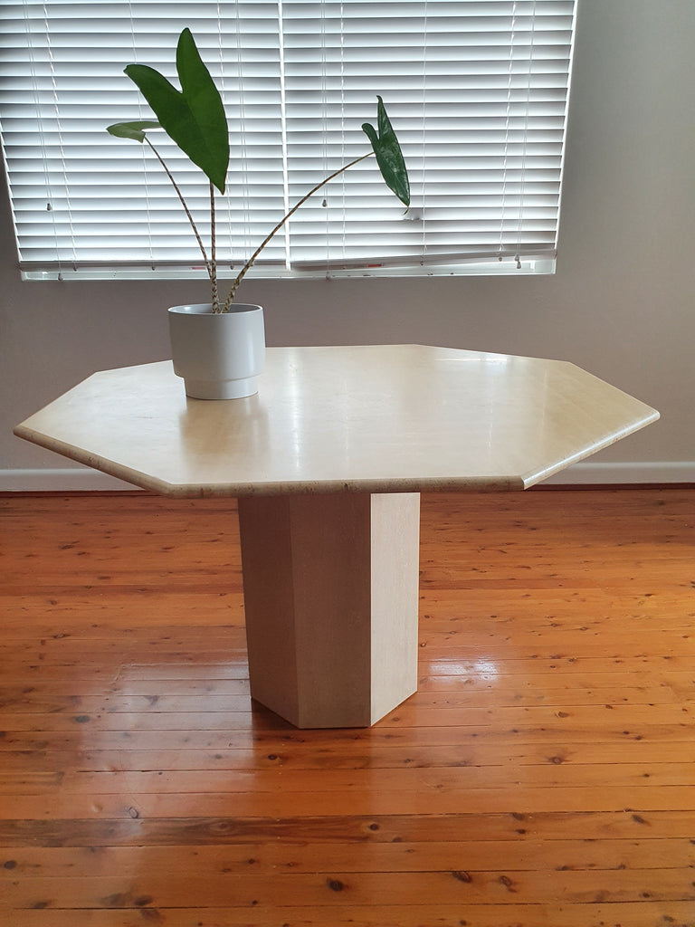 Octagonal Italian Travertine Dining Table circa 1970s