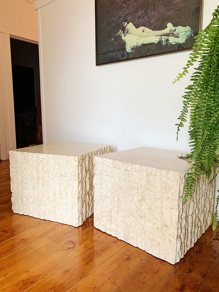 Large Fossil Stone Side Tables