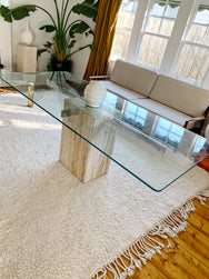 Solid Travertine base dining table
