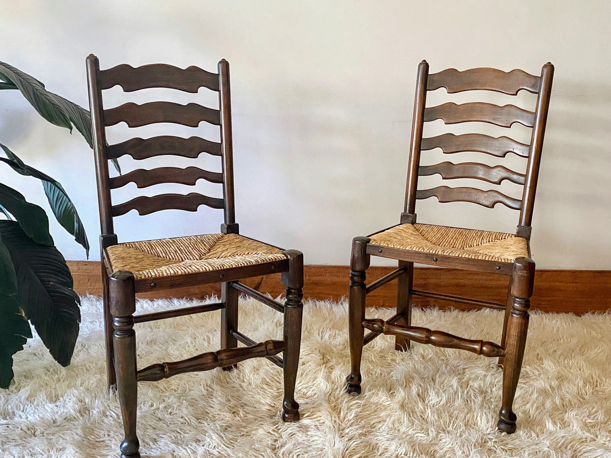 Ladderback Dining Chairs with Rush Seats