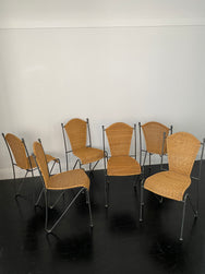 Set of Five Vintage Iron and Cane Dining Chairs