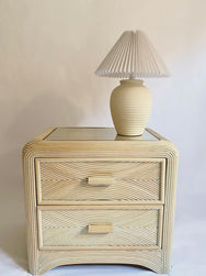 Peachy Cream Cane Bedside Tables