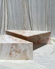 Pink Marble Triangle Tiered Coffee Tables