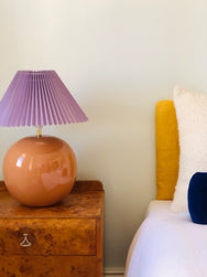 Terracotta with pleated lilac shade lamps