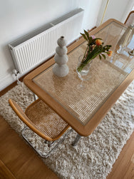 Blonde Rattan and Chrome Dining Table