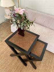 Set of Timber And Cane Side Tables