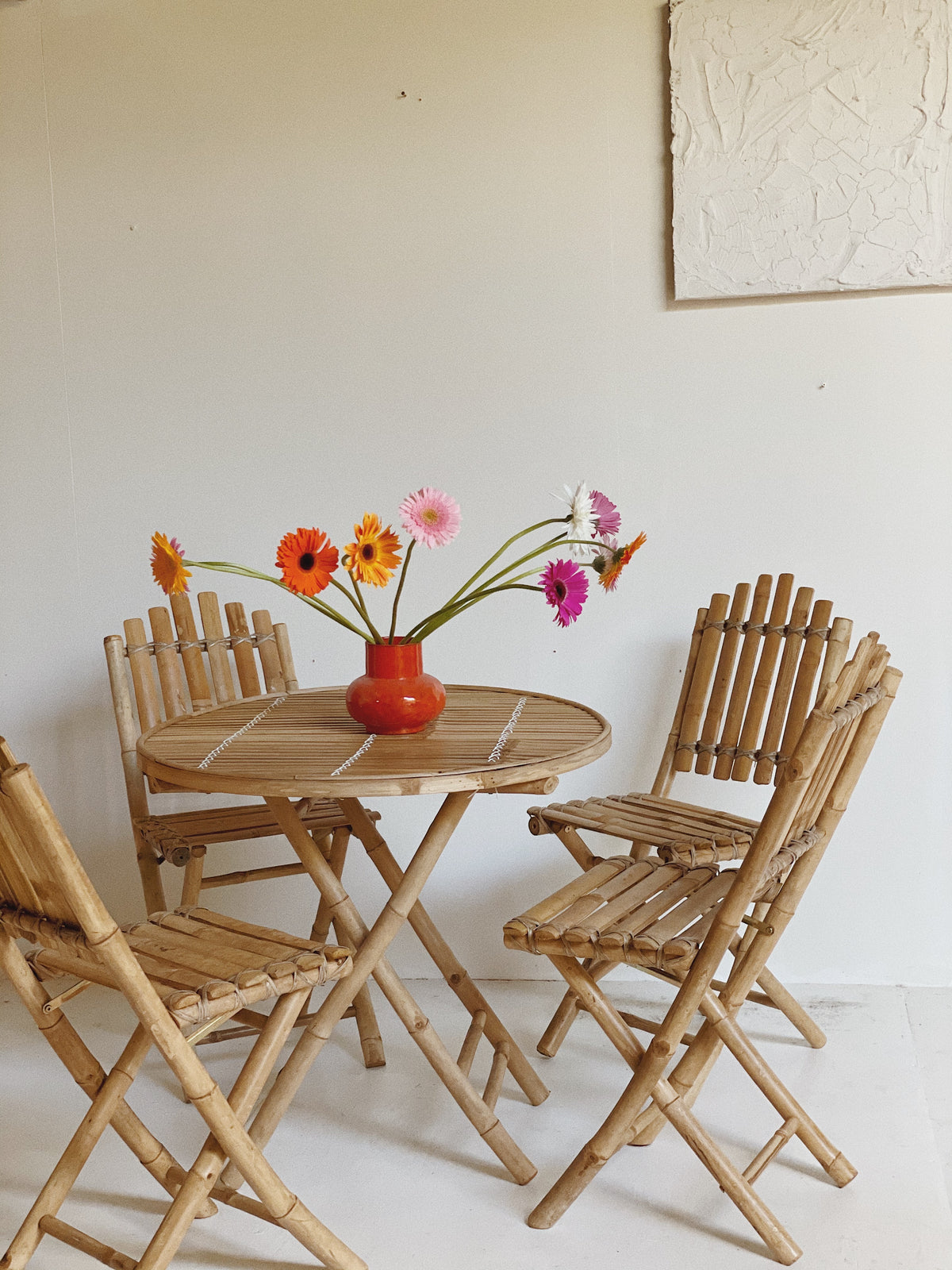 Vintage Bamboo Table and Folding Chairs