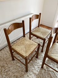 Set of Four Timber Woven Rush Chairs