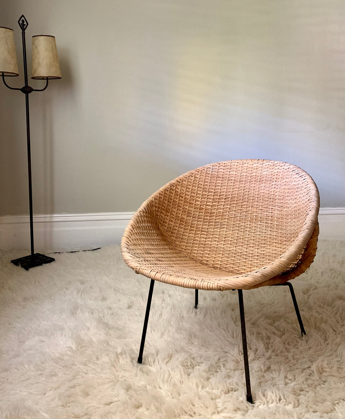 1950s Cane Saucer Chair