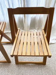 Wooden timber slatted dining chairs