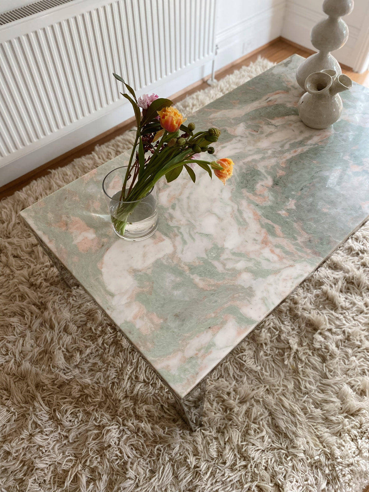 Marble Coffee Table with Angular Chrome Legs