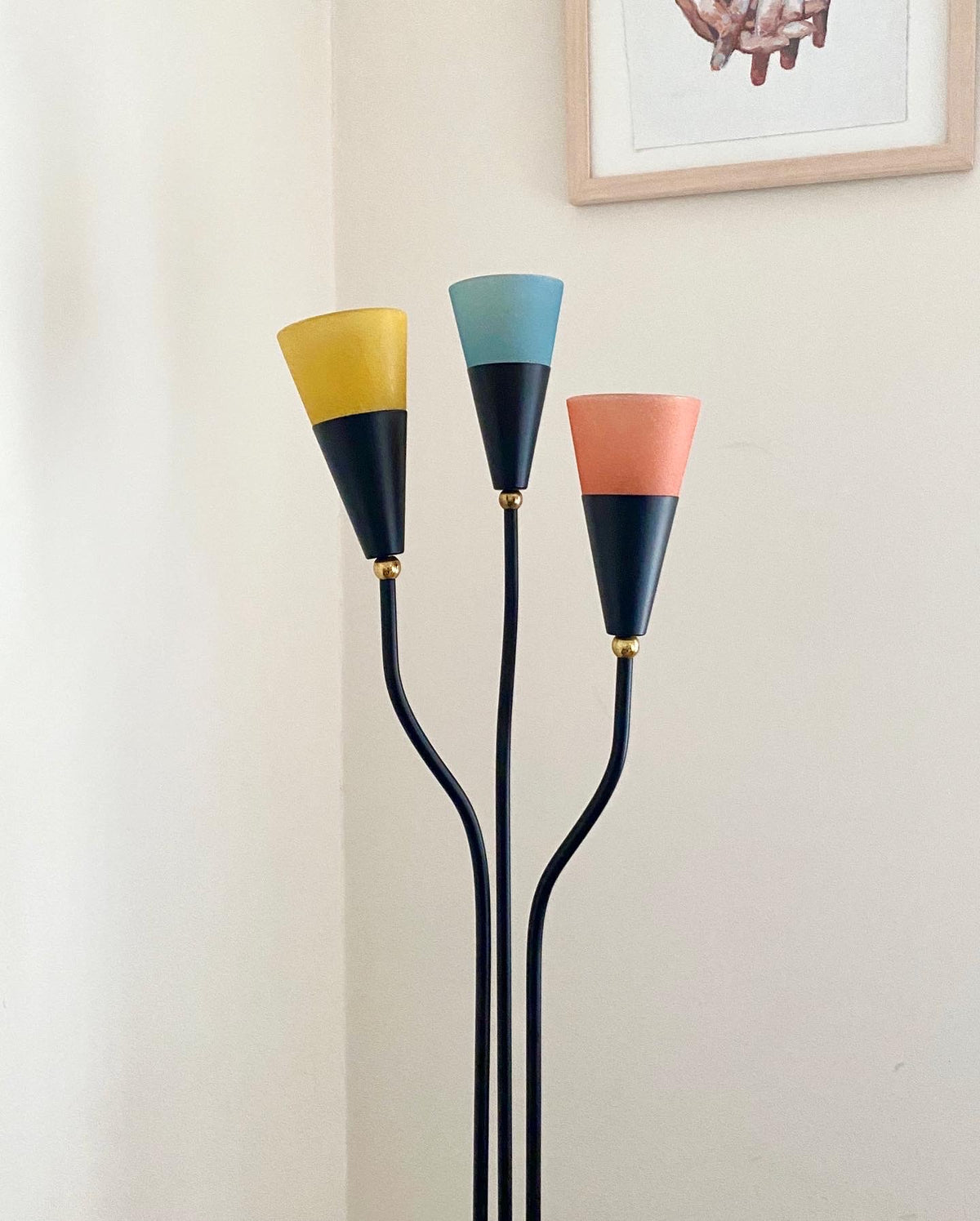 Vintage Coloured Glass Floor Lamp