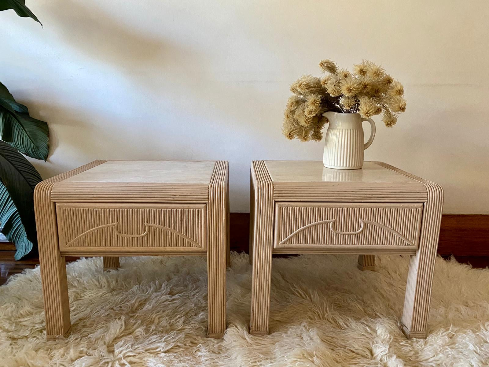 Vintage Rattan Bedside Tables Curated Spaces
