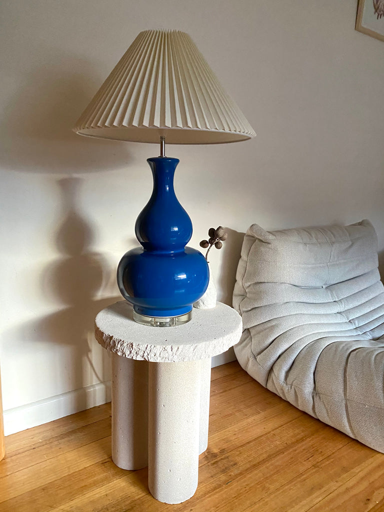 Large Blue Ceramic & Lucite Pleat Lamp