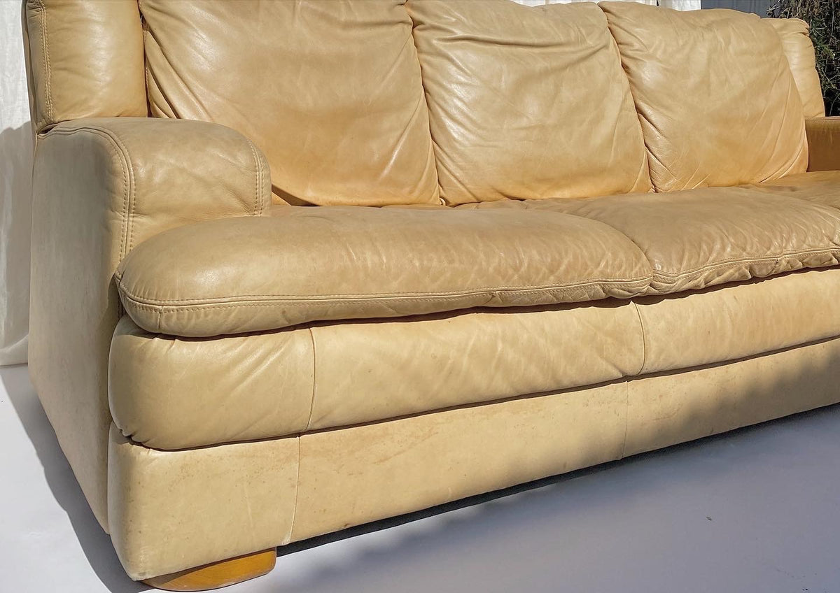 Vintage Light Tan Leather Couch