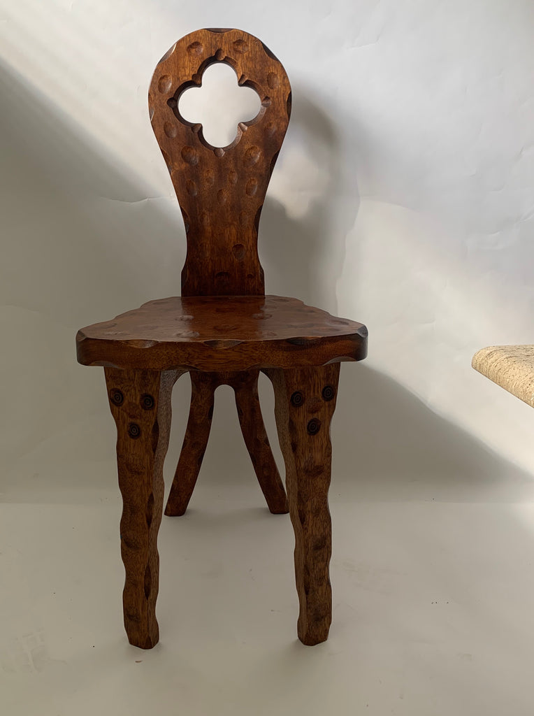Hand-Carved Primitive Chair - Decorative