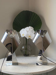 Pair of Silver Sculptural Origami Style Lamps