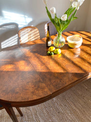 Vintage Burl Wood Extending Dining Table