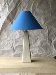 Tall textured lamp base with periwinkle shade