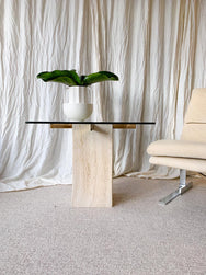 Italian travertine & brass side table