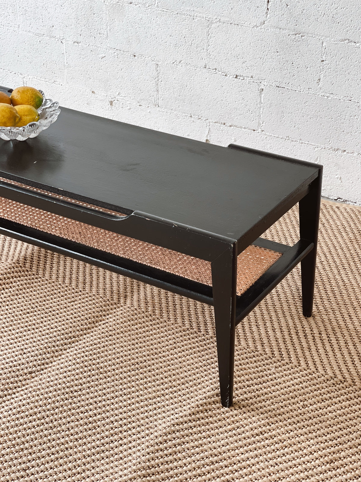 Vintage Wooden and Rattan Coffee Table