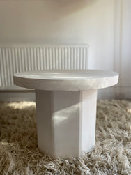 White Side Table with Octagon Base