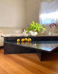 Black Marble Tiered Triangle Coffee Table