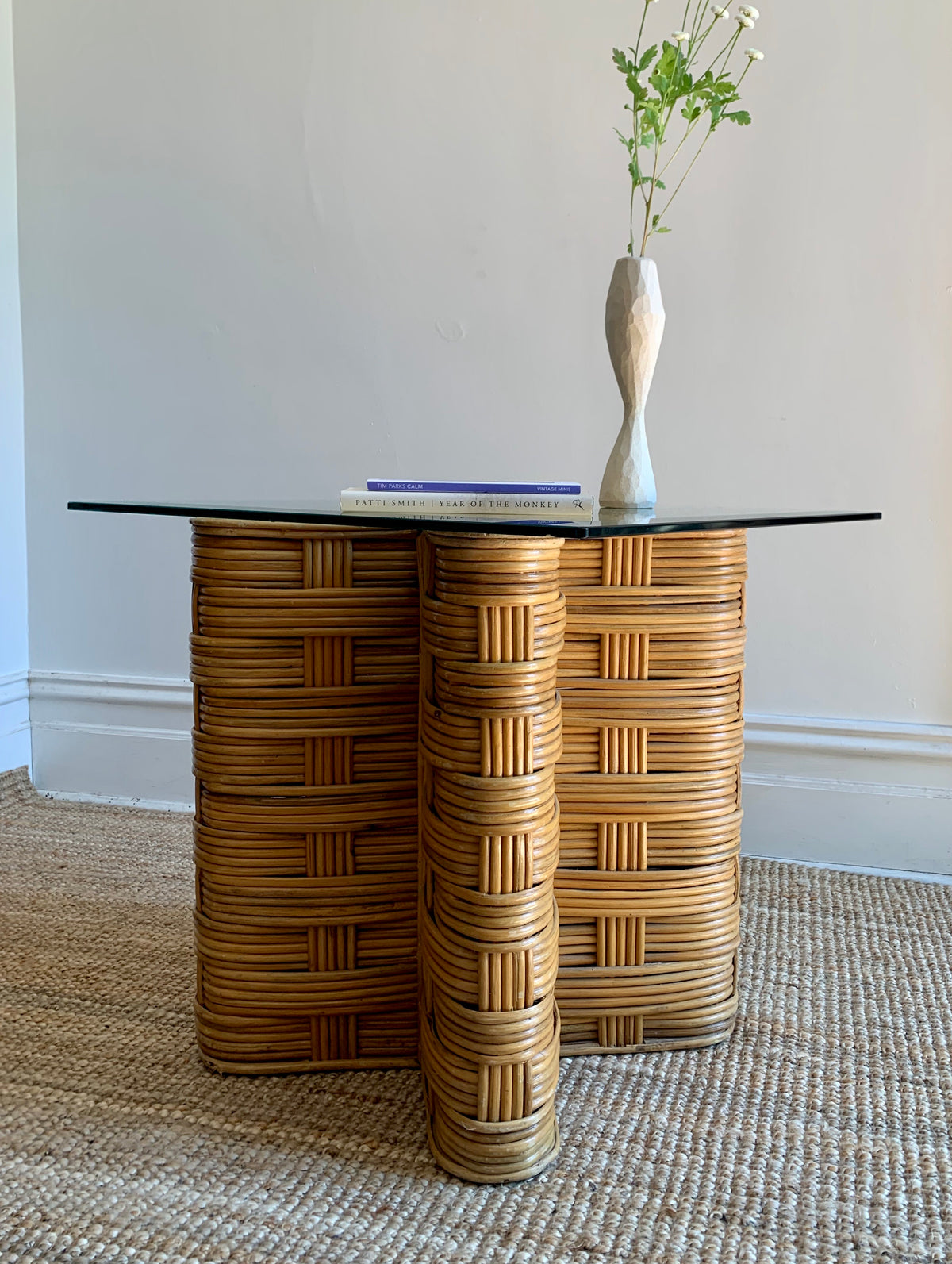 Vintage Bamboo and Glass Side Table