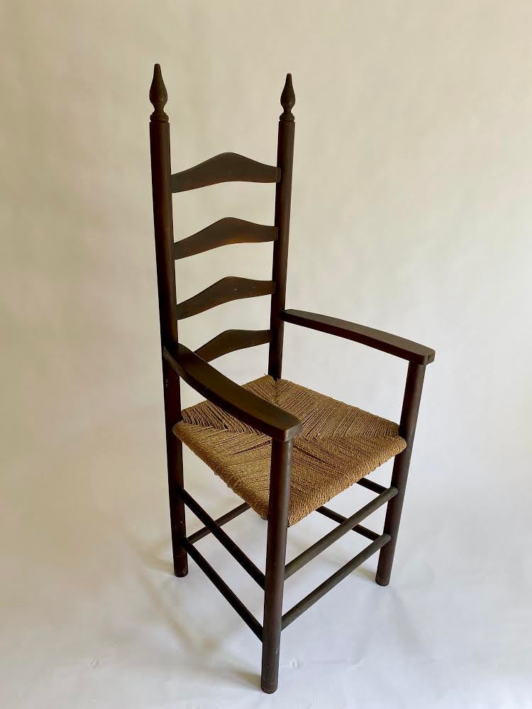 Antique Hall Chair With Woven Cord Seat