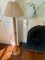 Wood & Brass Floor Lamp With Champagne Pleated Shade