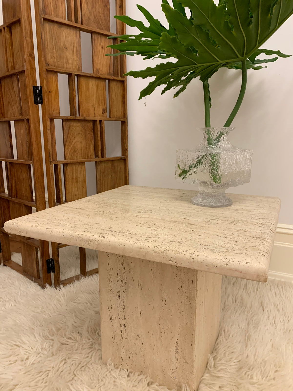 Vintage Unfilled Travertine Coffee Table