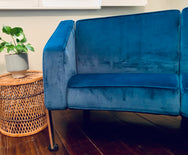 Mid Century Sofa in Peacock Blue