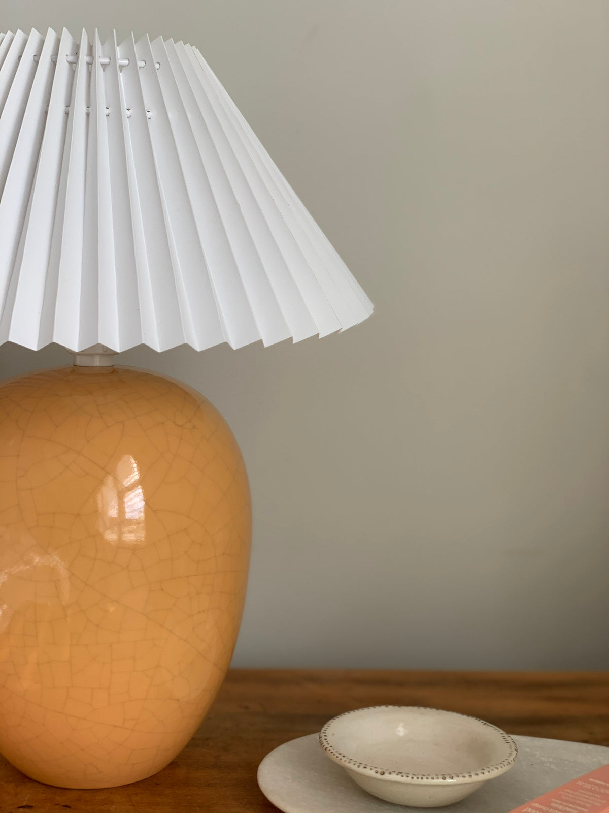 Crazed ceramic lamp with white pleated shade