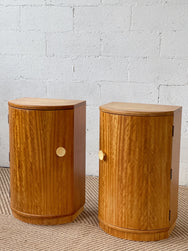 Pair of Curved Wooden Bedside Tables