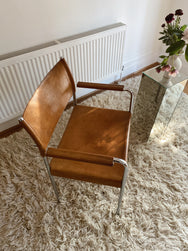 Tan Leather and Chrome Chair
