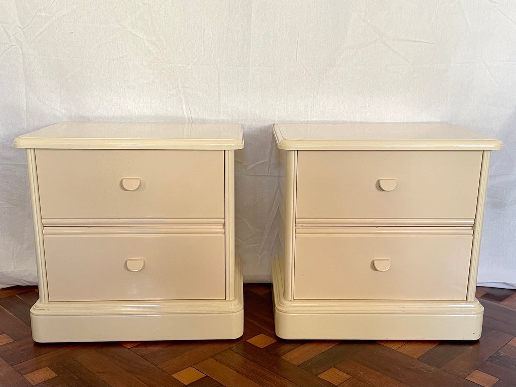 Lacquered Pair of Bedside Tables by Berryman