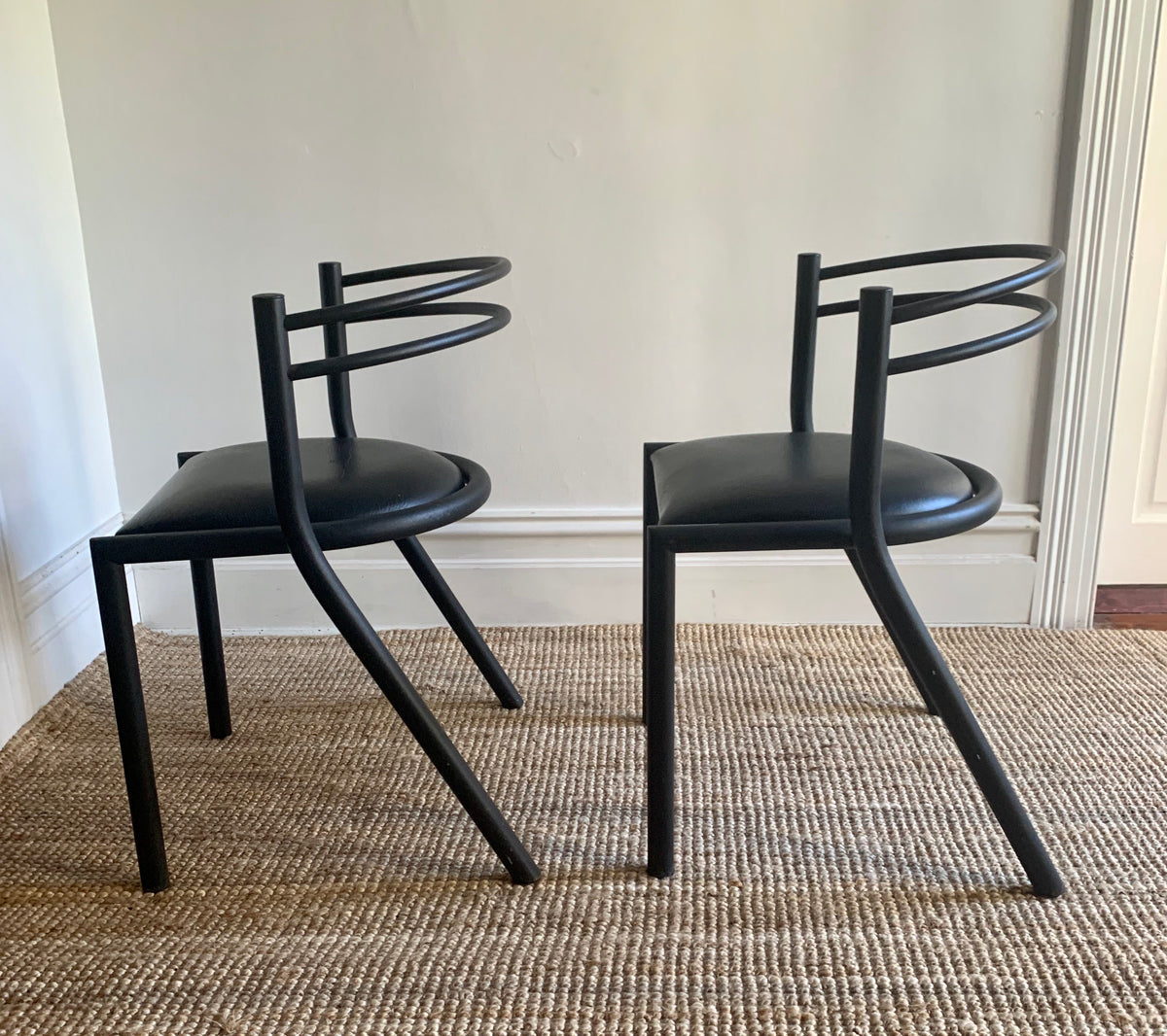 Curvy Black Post-Modern Chairs