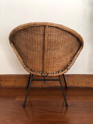 Mid Century Rattan and Iron Saucer Chair