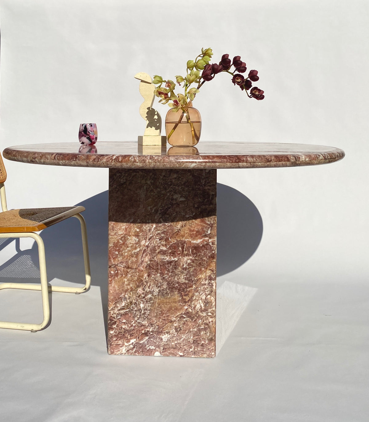 Pink Round Marble Dining Table