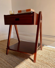 Mahogany Bedside Table With Drinks Tray