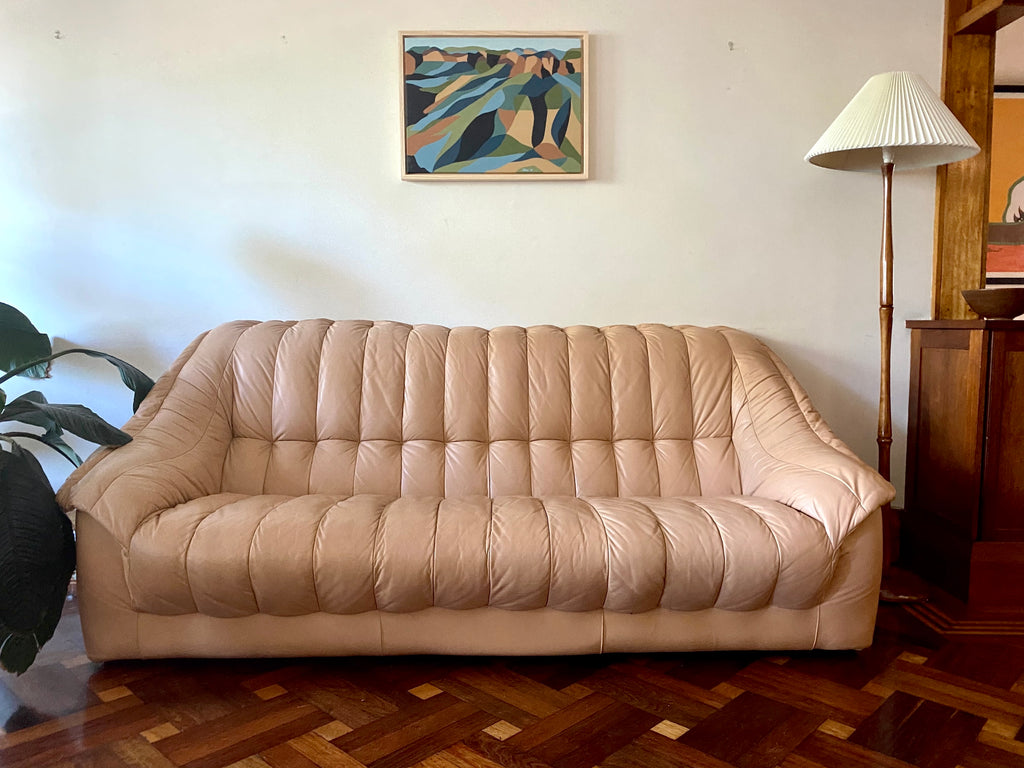 Tufted Peach Leather 3-seater