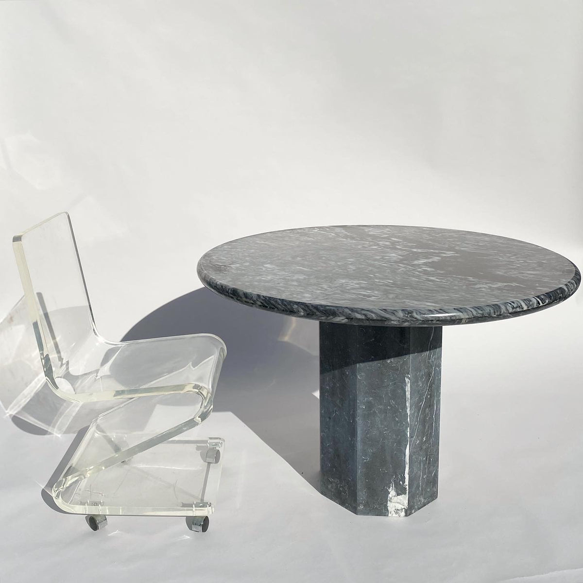 Black & White Round Marble Dining Table