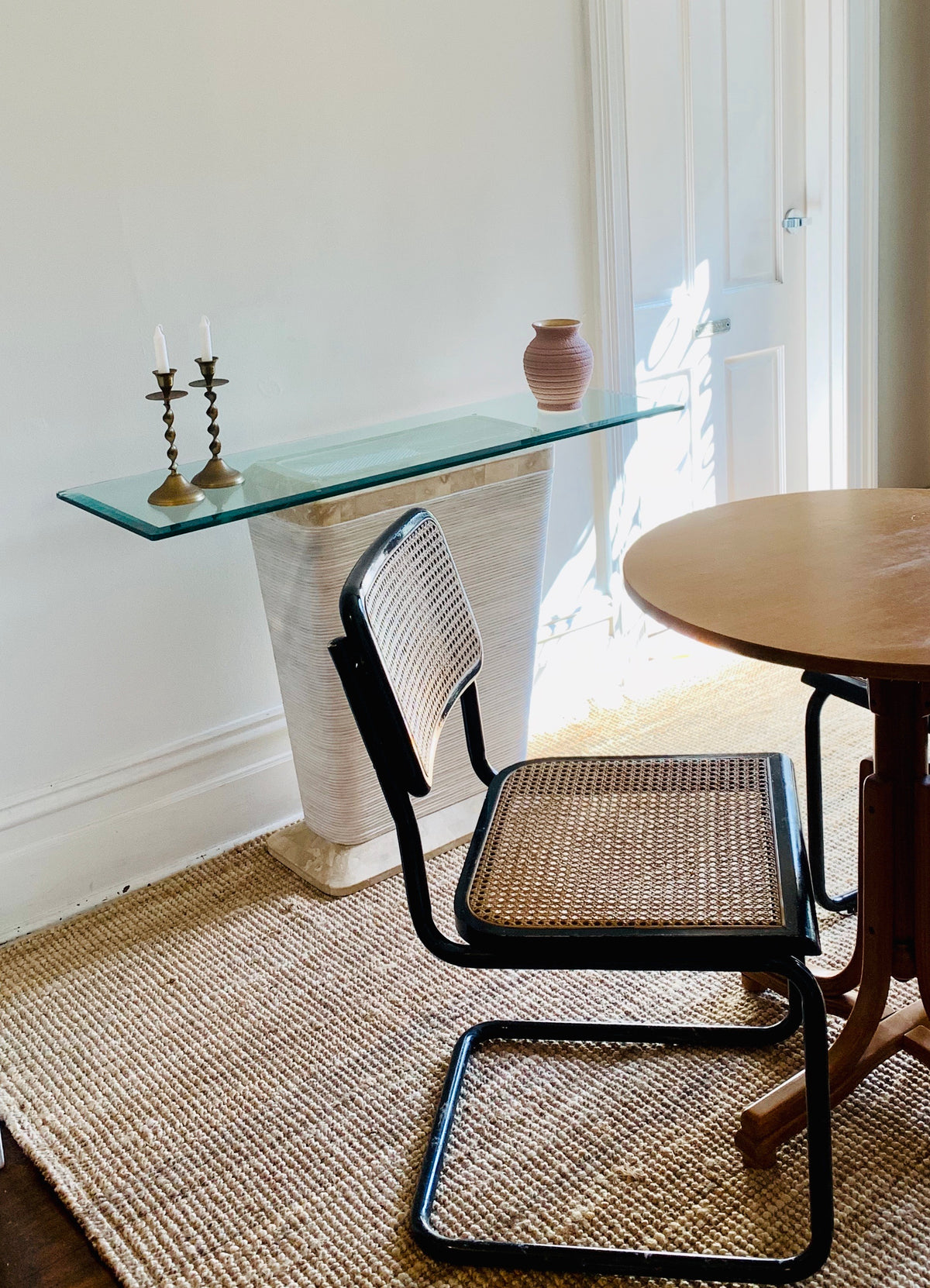 Vintage Cane & Fossil Stone Hall Table