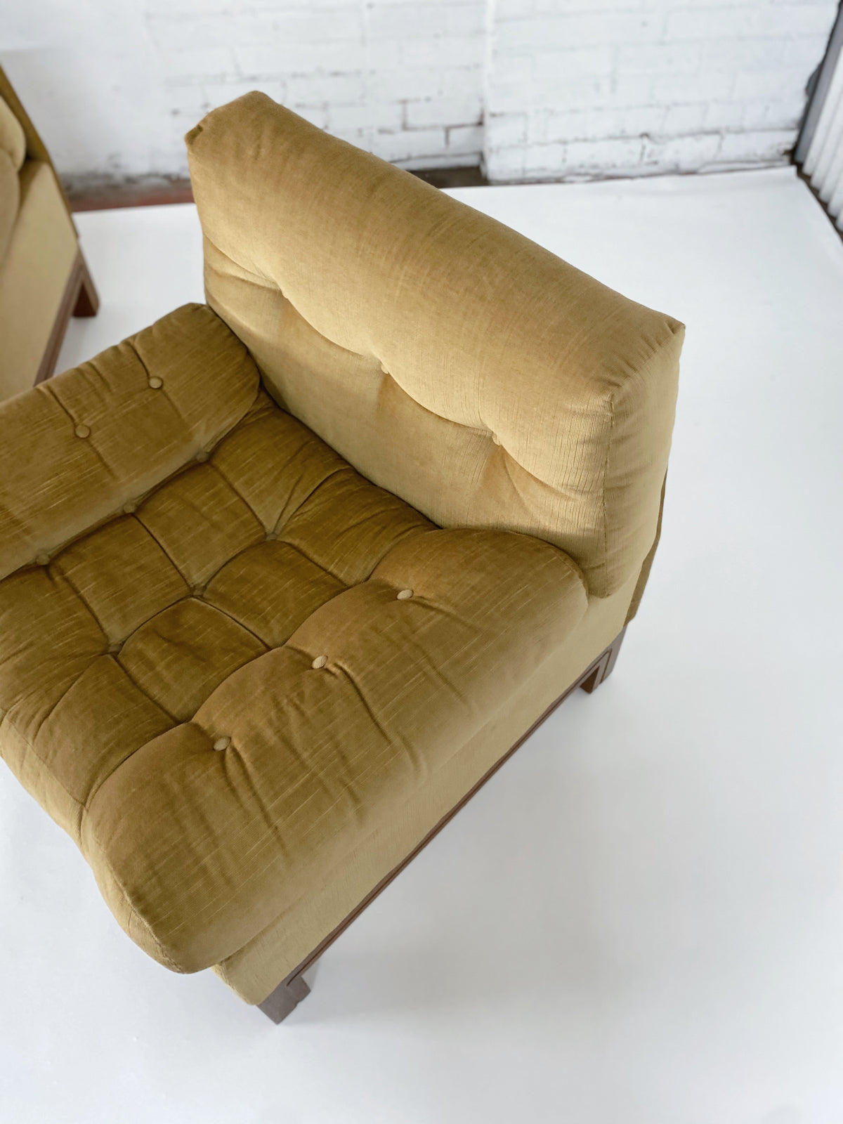 Large Velvet Mustard Lounge Chair - One Left