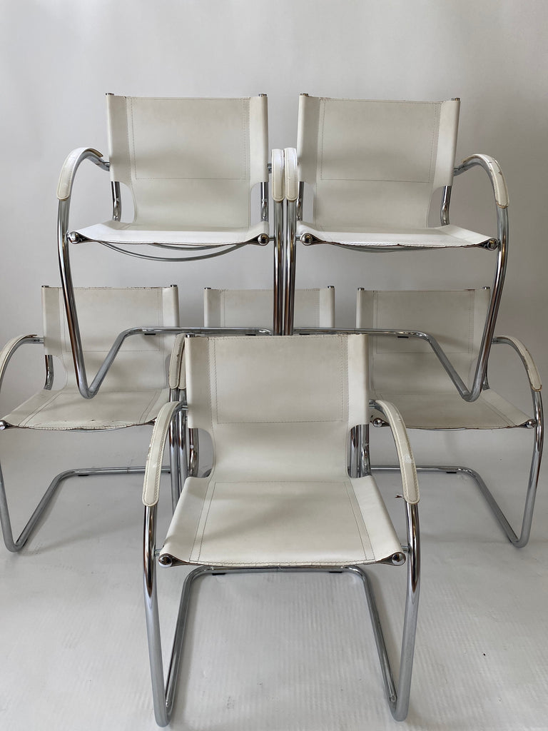 Made in Italy White Leather and Chrome Cantilever Chairs