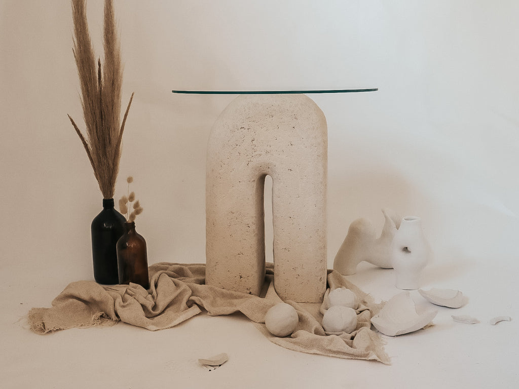 Handcrafted Limestone Side Table