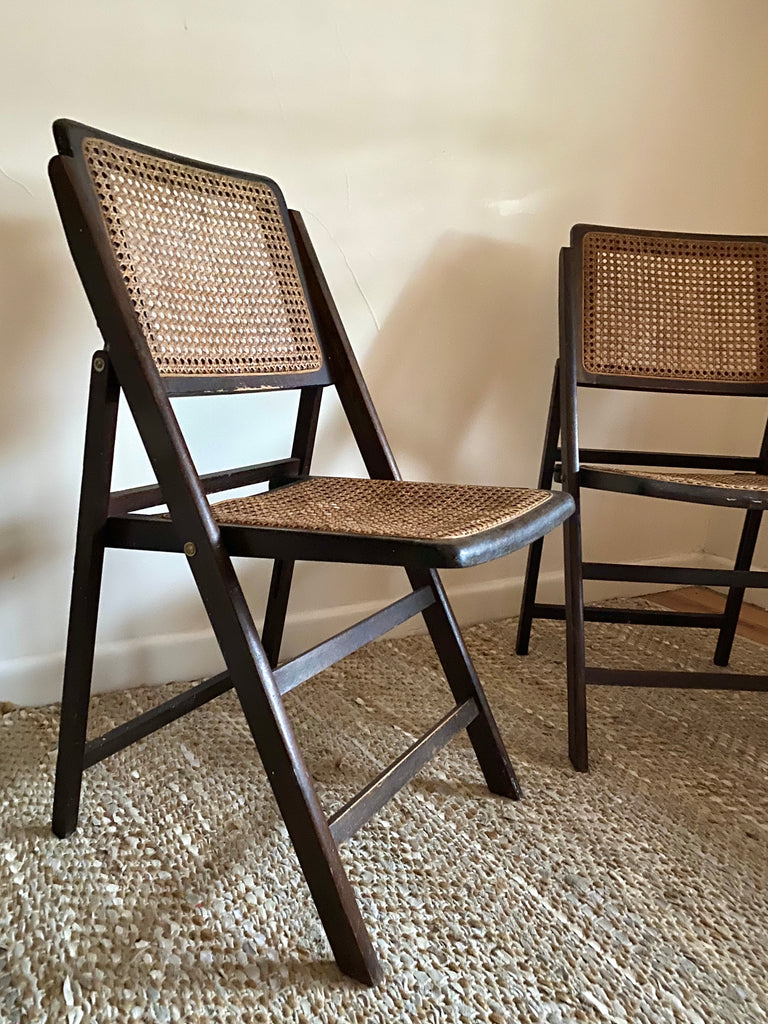 Cherrywood Rattan Folding Chairs - Pair